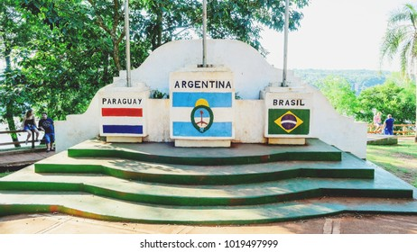 Puerto Iguazu, Argentina - January 07, 2018: Monument of the three frontiers of Brazil, Argentina and Paraguay.