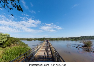 Puerto Iguazu, Misiones, Argentina. July 2018. Footbridge access to the Devil's Throat in the Iguazu Falls seen by the Argentinean side.