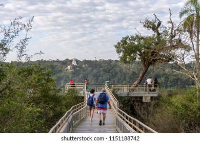 Puerto Iguazu, Misiones. July 2018. Footbridge to observe the Iguaçu Falls on the Argentine side with tourist movement in high season.