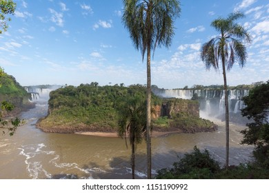 Puerto Iguazu, Misiones. July 2018. Iguaçu Falls on the Argentine side during the period of low water volume.