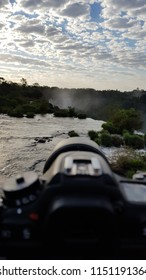 Puerto Iguazu, Misiones. July 2018. Iguazu Falls on the Argentine side from the point of view of a photographer and his camera.