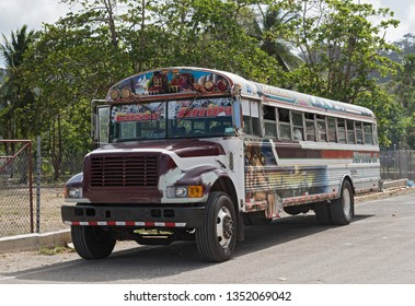 PUERTO LINDO, PANAMA-MARCH 06, 2019: colorful painted chicken bus in puerto lindo, panama