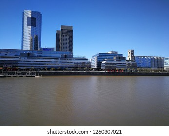 PUERTO MADERO - AUG 24 : Residential area view of this exlucive zone on August 24, 2018 in Puerto Madero, Buenos Aires, Argentina