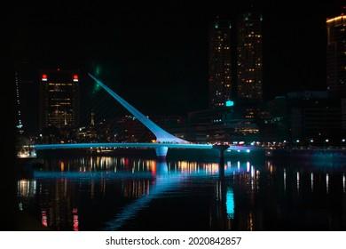 Puerto madero in the dark night,Buenos Aires, Argentina.Puerto madero en la noche
