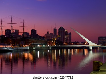 Puerto Madero neighbourhood at Night, Skyline,  Buenos Aires, Argentina.