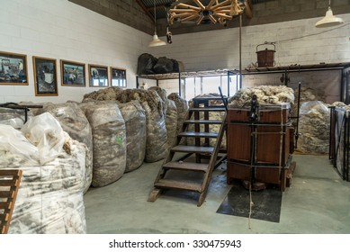 PUERTO MADRYN, ARGENTINA - DECEMBER 13: Interior of the Raw sheep Wool Warehouse on the sheep farm near Puerto Madryn, Patagonia, Argentina at December 13, 2012.