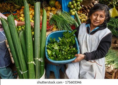 PUERTO MALDONADO - PERU CIRCA 2013: Unidentified woman sells exotic fruits in market of the city, Circa 2013 in Peru . Amazon Peru is known for the rich variety of exotic vegetables unknown beyond.
