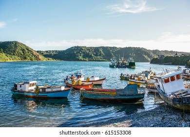 Puerto Montt, Chile - February 12, 2012: Fishing boats in Angelmo.