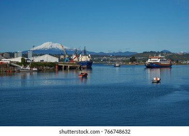 Puerto Montt, Chile - November 10, 2017: Busy port of Puerto Montt in Southern Chile