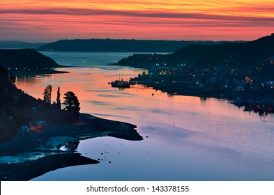 Puerto Montt port at sunset, Chile.