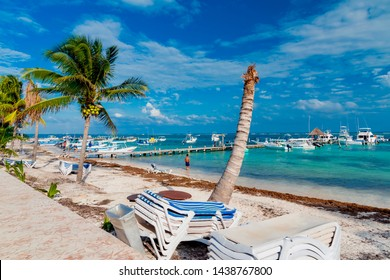 Puerto Morelos, Mexico - February 08 2019: Puerto Morelos is a town in Mexico, located in the state of Quintana Roo, capital of the municipality of the same name