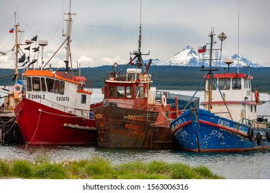 Puerto Natales. Chile. 11.25.05. Fishing boats near Puerto Natales in Patagonia, Chile, South America. Puerto Natales is located at the opening of Ultima Esperanza Sound northwest of Punta Arenas.