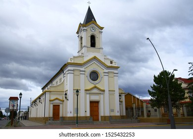 PUERTO NATALES, CHILE - 7 February 2019. Cathedral of Puerto Natales is situated at Plaza de Armas which is the main square in the city.