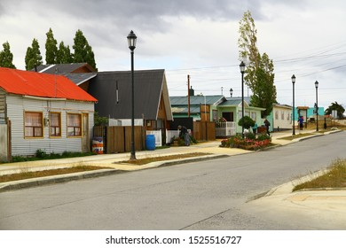 PUERTO NATALES, CHILE - 7 February 2019. A view from Puerto Natales streets. Puerto Natales is the gateway to Torres del Paine National Park.