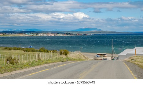 PUERTO NATALES, CHILE - NOV 8, 2006 : view of Puerto Natales rising on the deep fjord called gulf Almirante Montt, Puerto Natales on November 8, 2006.