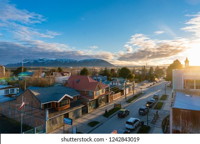 Puerto Natales, Chile - Sep 21, 2018: View of the town Puerto Natales at sunrise. It is the gateway to one of the most popular tourist attraction in Chile, the Torres del Paine National Park.