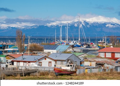 Puerto Natales, Chile - Sep 21, 2018: View of the houses in Puerto Natales. It is the gateway to one of the most popular tourist attraction in Chile, the Torres del Paine National Park.