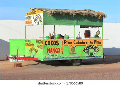 "PUERTO PENASCO, SONORA, Mexico - FEBRUARY 14, 2014: A food stall, tourist attraction at ""Arizona's beach,"" Puerto in Mexico."
