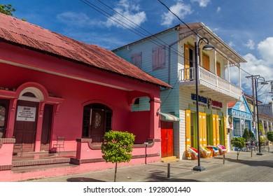 PUERTO PLATA, DOMINICAN REPUBLIC - DECEMBER 16, 2018: Colorful buildings in the center of Puerto Plata, Dominican Republic
