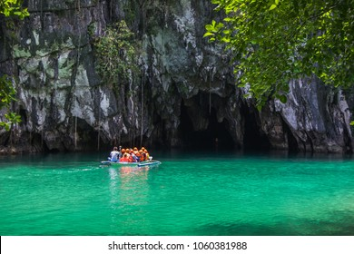 Puerto Princesa, Palawan, Philippines - 03 of March 2018: Beautiful lagoon, the beginning of the longest navigable underground river in the world.