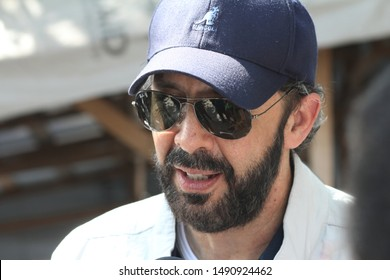 PUERTO PRINCIPE/HAITI - OCTOBER 13, 2010: Singer Juan Luis Guerra speaks with journalists during the ceremony to begin the construction of a hospital for the victims of 2010 Haiti earthquake.