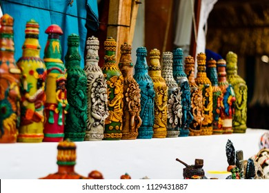 Puerto Quetzal, Guatemala - circa February 2018.  Decorative bottles on a shelf in Puerto Quetzal, Guatemala.  Hand made bottle designs.