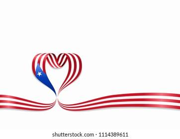 Puerto Rican flag heart-shaped wavy ribbon. Raster version.