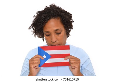 Puerto Rican Flag held by Brunette Woman with curly short hair white background