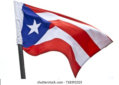 Puerto Rican flag waving on white background