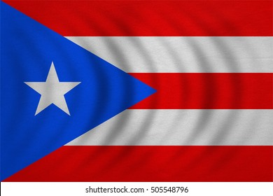 Puerto Rican national official flag. Patriotic symbol, banner, element, background. Correct colors. Flag of Puerto Rico wavy with real detailed fabric texture, accurate size, illustration
