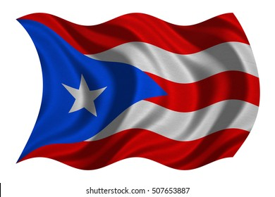 Puerto Rican national official flag. Patriotic symbol, banner, element, background. Correct colors. Flag of Puerto Rico with real detailed fabric texture wavy isolated on white, 3D illustration