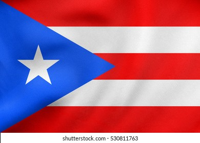 Puerto Rican national official flag. Patriotic symbol, banner, element, background. Correct colors. Flag of Puerto Rico waving in the wind, real detailed fabric texture. 3D illustration