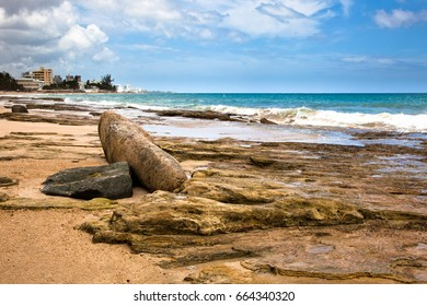 Puerto Rico beach with rocks in the foreground