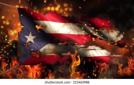 Puerto Rico Burning Fire Flag War Conflict Night 3D