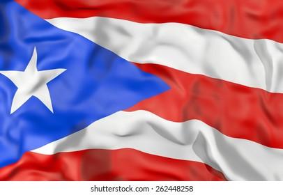 Puerto Rico corrugated flag 3d illustration