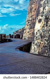 Puerto Rico, El Morro Fortress, Old San Juan, view along the Santa Barbara Battery after a brief rain shower, June 5, 1992