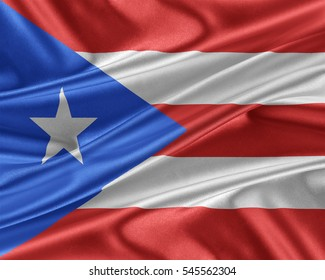 Puerto Rico flag. Flag with a beautiful glossy silk texture. 3D illustration.