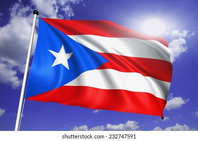 Puerto Rico flag with fabric structure against a cloudy sky
