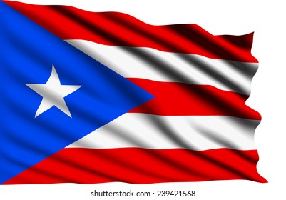 Puerto Rico flag with fabric structure (clipping path)
