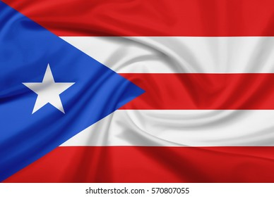 Puerto Rico flag with fabric texture. Flag of Puerto Rico. 3D illustration.