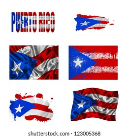 Puerto Rico flag and map in different styles in different textures