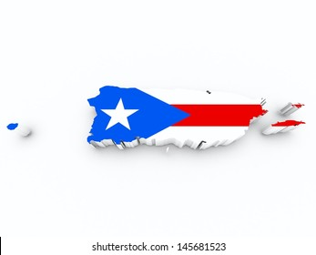 puerto rico flag on 3d map