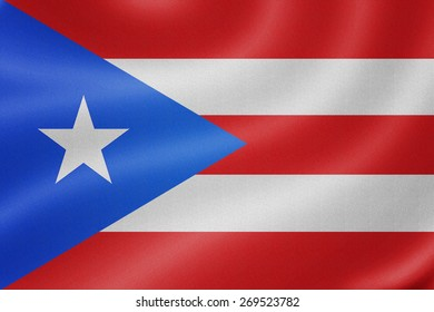 Puerto Rico flag on the fabric texture background