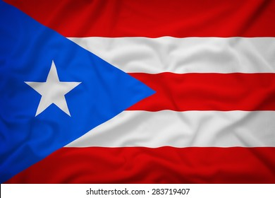 Puerto Rico flag on the fabric texture background,Vintage style