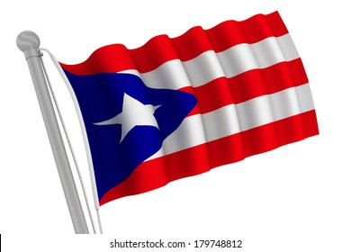 Puerto Rico flag on pole waving in the wind