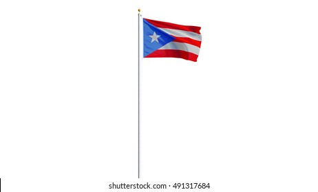 Puerto Rico flag waving on white background, long shot, isolated with clipping path mask alpha channel transparency