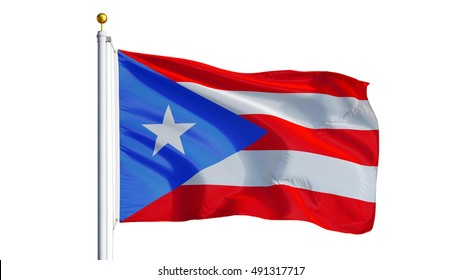 Puerto Rico flag waving on white background, close up, isolated with clipping path mask alpha channel transparency