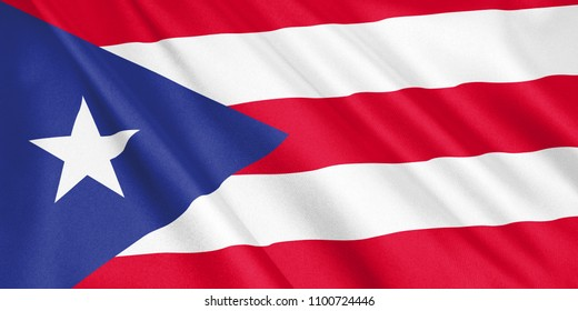Puerto Rico flag waving with the wind, wide format, 3D illustration. 3D rendering.