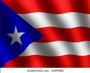 Puerto Rico flag waving in the wind, vector illustration