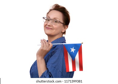Puerto Rico flag. Woman holding Puerto Rico flag. Nice portrait of middle aged lady 40 50 years old with a national flag isolated on white background.